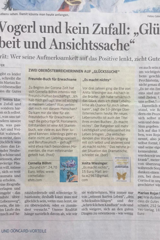 Artikel OÖN Freundebuch Erwachsene Cornelia Böhm